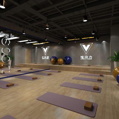 现代简约工业风格健身房瑜伽室3D模型
