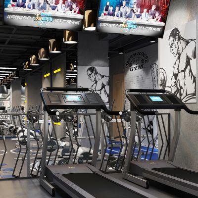 现代简约工业风格健身房器械区3D模型
