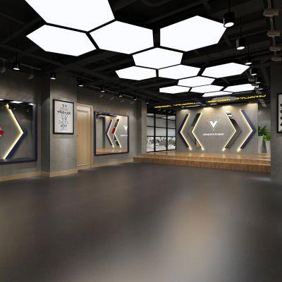 现代简约工业风格健身房舞蹈室3D模型