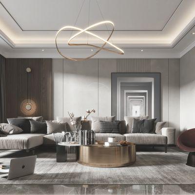 现代客厅餐厅,沙发,餐桌,电视柜,吊灯,装饰画3D模型