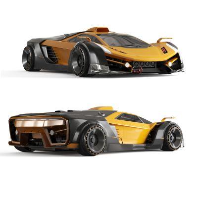 现代跑车 概念车 豪车 兰博基尼 科幻车 汽车 碳纤维 汽车模型 大黄蜂3D模型