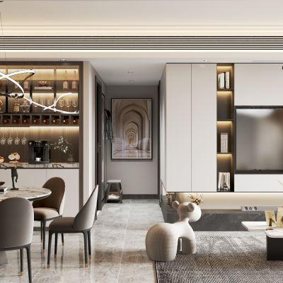 现代轻奢客餐厅VR全景全景模型