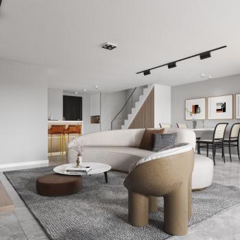 现代简约复式公寓全景模型