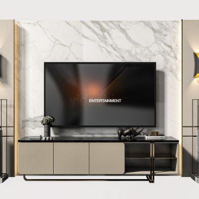 现代电视柜背景墙组合3D模型