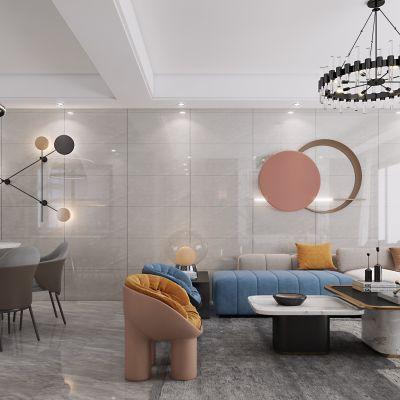 现代客餐厅,客餐厅,厨房,茶室,3D模型