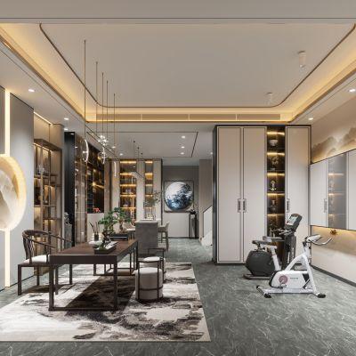 新中式地下室休闲室3D模型