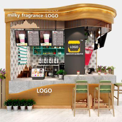 现代咖啡奶茶饮品店3D模型