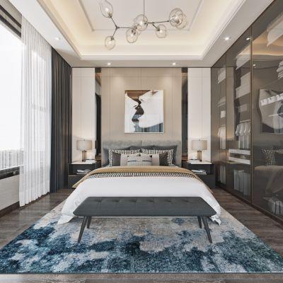 现代简约轻奢卧室3D模型