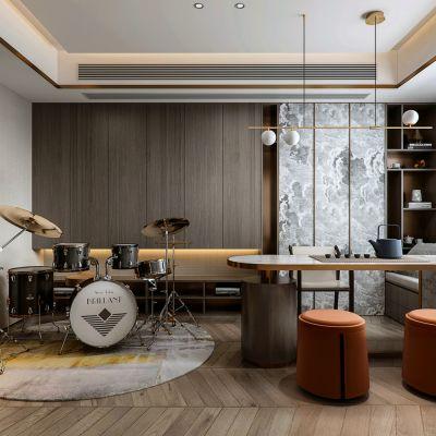 新中式客厅书房3D模型