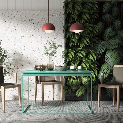 北欧风格餐桌椅组合,餐厅吊灯,植物墙3D模型