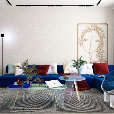 现代沙发茶几组合,镭射亚克力茶几3D模型