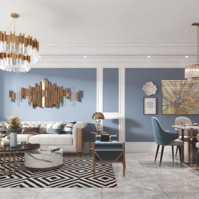 简欧客厅餐厅,沙发,餐桌,电视柜,酒柜,吊灯,装饰画3D模型