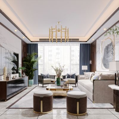 新中式简约轻奢风格客厅3D模型