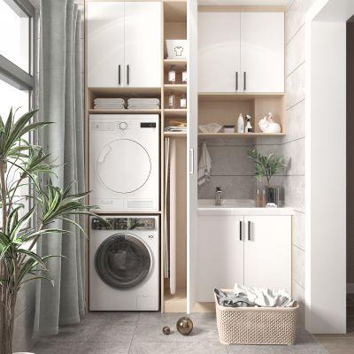 北欧阳台 洗衣机3D模型