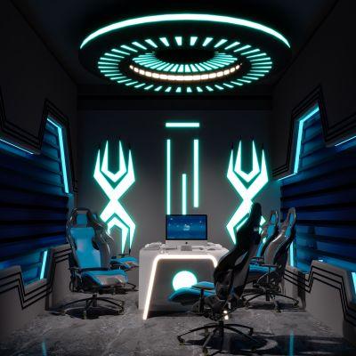 现代科幻电竞网咖游戏包厢3D模型