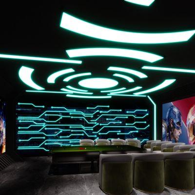 现代科幻电竞休闲娱乐区3D模型