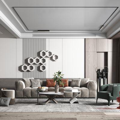 现代简约风格客厅3D模型