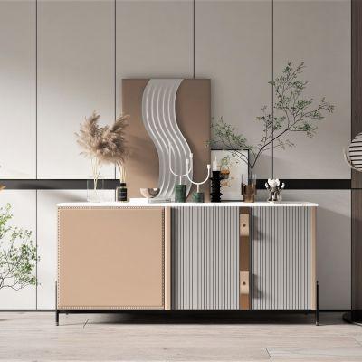 现代轻奢风格边柜,墙饰,饰品摆件3D模型