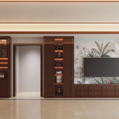 美式电视背景墙3D模型