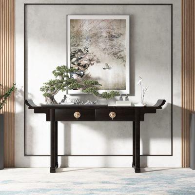 中式风格端景条案,松树盆景3D模型