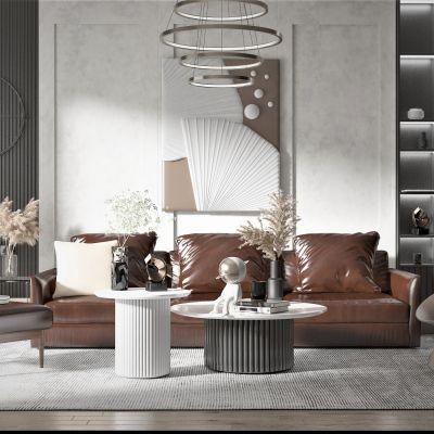 现代风格皮革沙发茶几组合3D模型