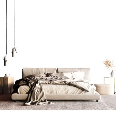 现代布艺床3D模型