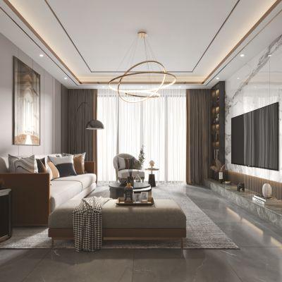 现代客厅餐厅,沙发,餐桌,电视柜,酒柜,吊灯,装饰画3D模型