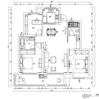 朗诗未来街区100㎡混搭三居室住宅装修设计CAD施工图纸+实景图CAD施工图