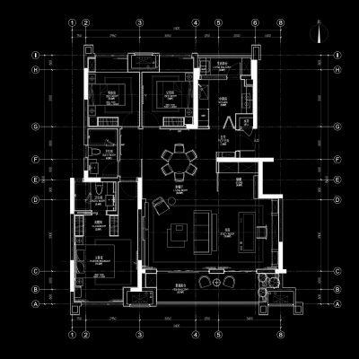 矩阵纵横重庆金地两岸风华洋房6-3户型样板房丨高清效果图CAD施工图SU模型物料实景图CAD施工图