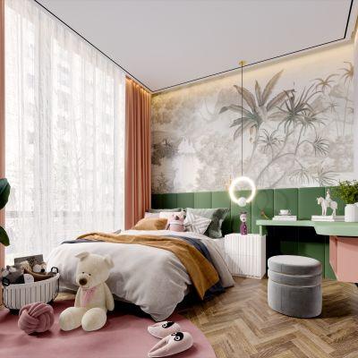 现代简约轻奢风格儿童卧室3D模型