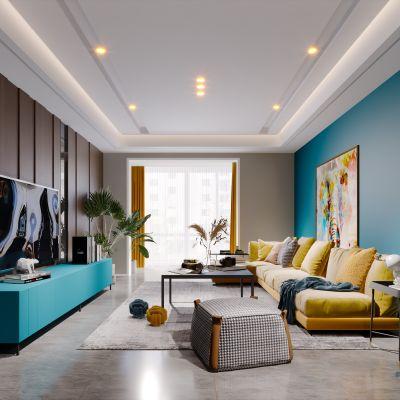 现代简约轻奢风格客厅3D模型