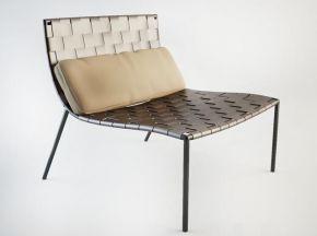 现代皮革编织单椅组合