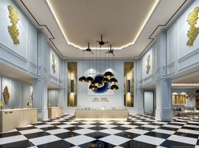 现代风格售楼处大厅沙盘洽谈区