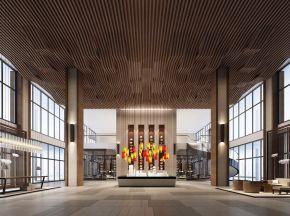新中式售楼处大厅沙盘洽谈区