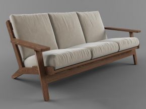 新中式实木布艺三人沙发