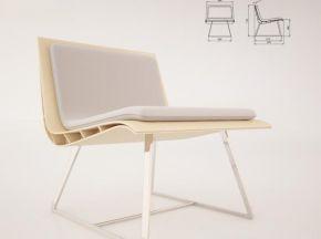 现代实木单人沙发