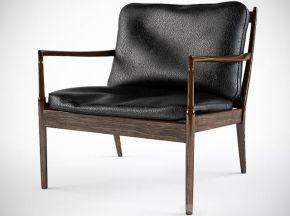 实木黑色皮革单人椅子
