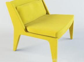 北欧黄色布艺单人沙发