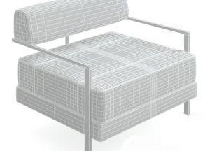 钢架皮质商务单人沙发