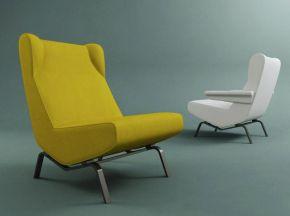 现代布艺黄色单人沙发
