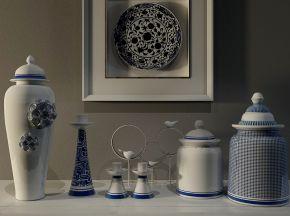 中式风格陶瓷摆设品组合