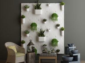 现代简约单椅植物墙陈设品组合