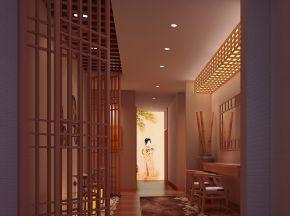 日式会所洗浴中心过道区域