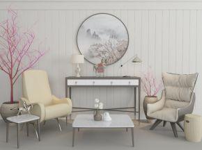 现代椅子茶几边柜组合