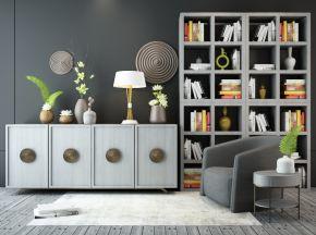 现代简约单椅边柜置物柜陈设品组合