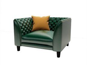 美式真皮单人沙发