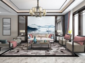 新中式客厅沙发电视柜吊灯装饰画