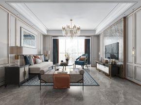 新中式客厅沙发电视柜装饰画吊灯