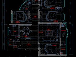 简欧风格四居公寓CAD施工图