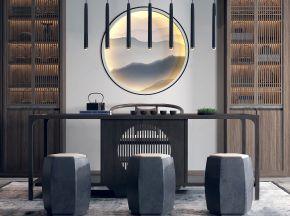 新中式茶桌椅吊灯组合